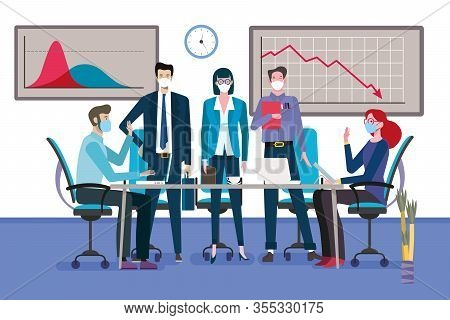 Group Of Business Men And Women As A Teamwork Standingarround A Meeting Table With Face Mask. Graph
