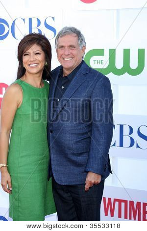 LOS ANGELES - JUL 29:  Julie Chen, Les Moonves arrives at the CBS, CW, and Showtime 2012 Summer TCA party at Beverly Hilton Hotel Adjacent Parking Lot on July 29, 2012 in Beverly Hills, CA