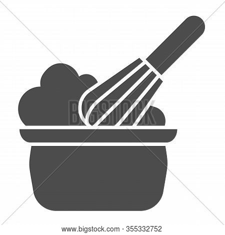 Manual Stirring Solid Icon. Whipping Cream Proces, Whisk And Bowl Symbol, Glyph Style Pictogram On W