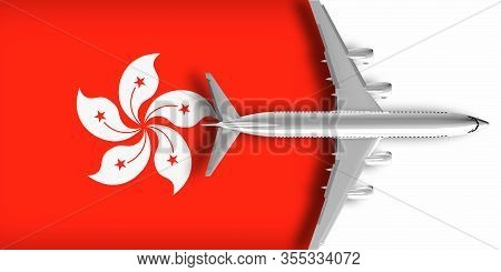 3d Flag Of Hong Kong With An Airplane Flying Over It
