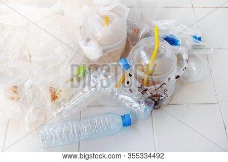 Pile Plastic Bottle Waste On Floor, Bulk Plastic Bags Dirty Waste, Pile Of Trash Plastic Many, Plast