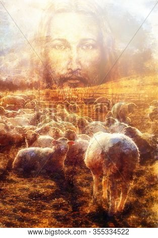 Jesus The Good Shepherd, Jesus And Lambs.