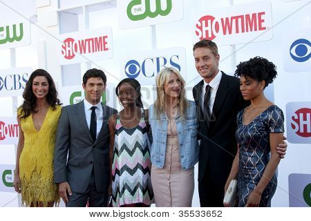 LOS ANGELES - JUL 29: Zadegan, M Rady, A King, Mamie Gummer, Justin Hartley, K McCreary arrives at the CW 2012 Summer TCA party at Beverly Hilton Hotel on July 29, 2012 in Beverly Hills, CA