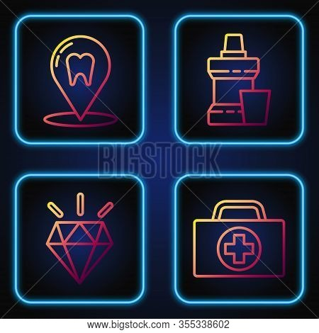 Set Line First Aid Kit, Diamond Teeth, Dental Clinic Location And Mouthwash Plastic Bottle. Gradient
