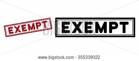 Exempt Seal Stamp. Red Vector Rectangular Distress Seal Stamp With Exempt Phrase, Inside Double Rect