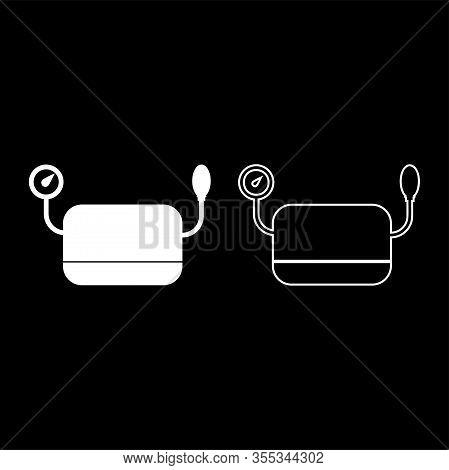 Blood Pressure Measuring Device Tonometer Apparatus Sphygmometer Aneroid Spygmos Icon Outline Set Wh