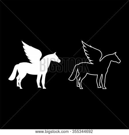 Pegasus Winged Horse Silhouette Mythical Creature Fabulous Animal Icon Outline Set White Color Vecto