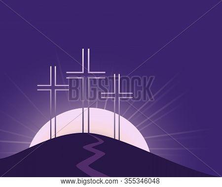Religious Lenten Season Flat Vector Background. Hand Drawn Christian Symbol. Sacrament Biblical Chur