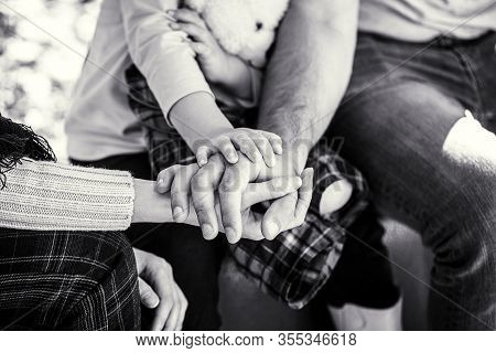 Child Hand Closeup Into Parents. Hands Of Father, Mother, Keep Hand Little Baby. Concept Of Unity, S