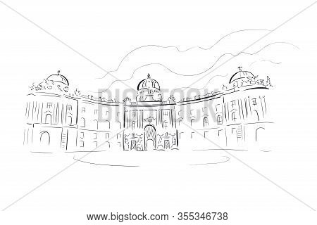 Austria Vienna Europe Vector Sketch City Illustration Line Art