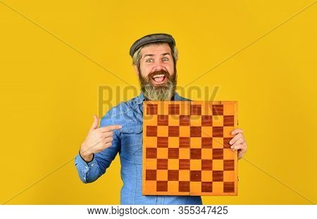 Bearded Man Play Chess. Chess Figures. Intellectual Games. Grandmaster Experienced Player. Enjoy Tou