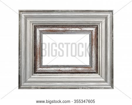 Empty Green Wooden Frame For Paintings With Silver Patina. Isolated On White Background