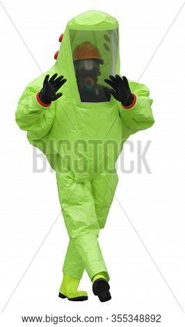 Protective Suit Of The Doctor To Avoid Radiation Or Virus Infection On A White Background