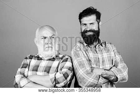 Two Bearded Men Senior And Mature. Father And Son Family. Generational Conflict. Male Beard Care. Ch