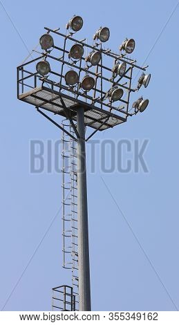 Large Industrial Floodlights Of An Industrial Stadium Plant On A Steel Pylon