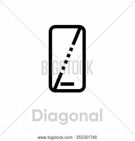 Tech Specs Diagonal Phone Icon. Editable Line Vector.