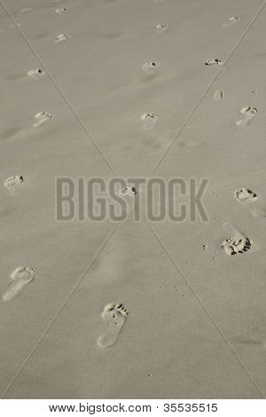 indecision with footprints in sand going back and forth