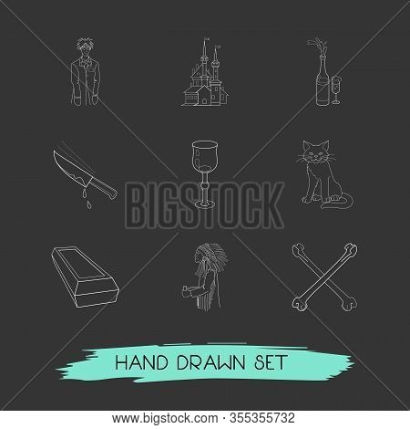 Set Of Holiday Icons Line Style Symbols With Crossed Bones, Cat, Stemware And Other Icons For Your W