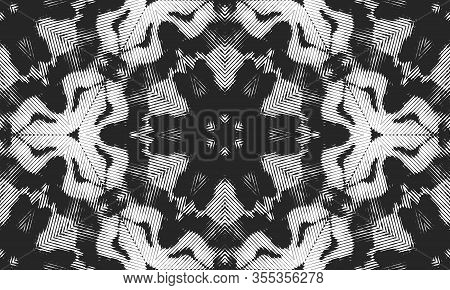 Abstract Seamless Pattern. Psychedelic Geometric Spot In The Shape Of A Hexagonal Kaleidoscope.