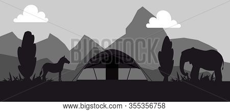 Campsite Place In Safari Black And White Silhouette Vector Illustration. Camping Landscape With Tent