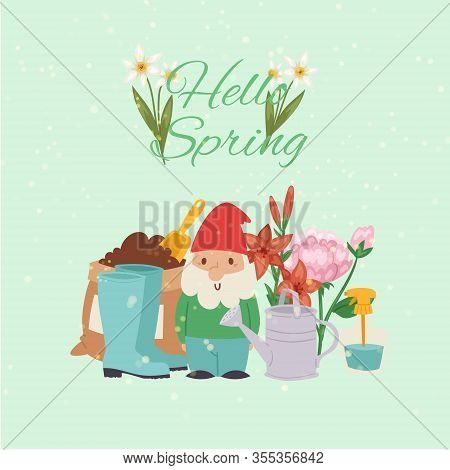 Spring Time Gardening Concept With Gnome, Gum Boots And Watering Can, Grass, Dandelions And Daisies