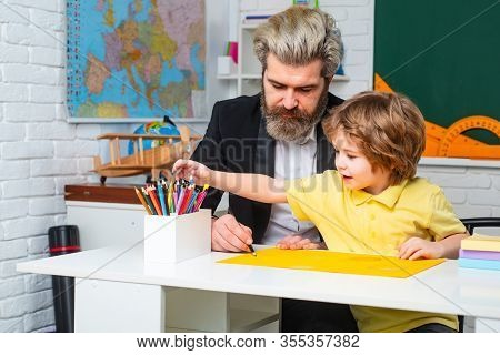 Child Home Studying And Home Education. Home Teacher Or Homework Tutor. Afterschool Tutoring. Teache