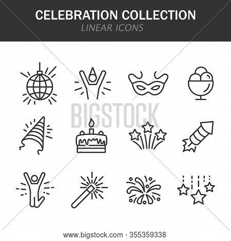 Celebration Collection Linear Icons In Black On A White Background