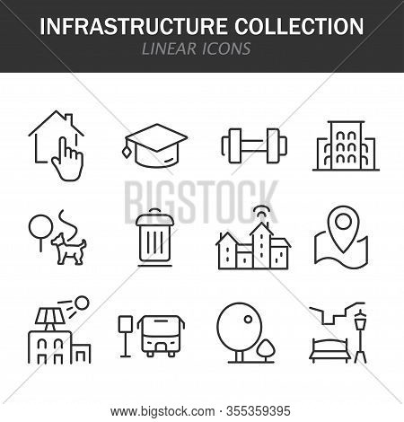 Infrastructure Collection Linear Icons In Black On A White Background