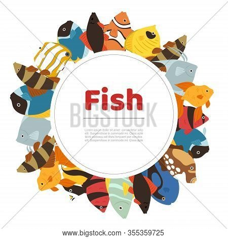 Tropical Fishes Coral Reef For Aquarium Cartoon Fishes In Circle Banner Cartoon Vector Illustration.