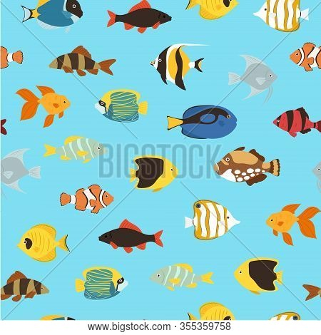 Tropical Fishes Coral Reef For Aquarium Cartoon Fishes Seamless Pattern Cartoon Vector Illustration.