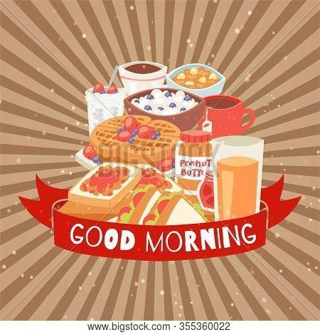 Good Morning Breakfast Food Assortment With Belgian Waffles, Cream, Berries, Orange Juice Drink And