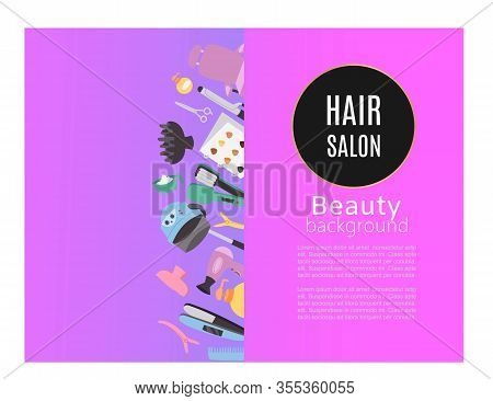 Beauty Hair Salon, Studio Poster With Hairdressers Tools, Fan, Brushesand Shampoo Vector Illustratio