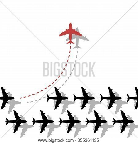 Think Different Business Concept Illustration, Red Airplane Changing Direction. New Idea, Change, Tr