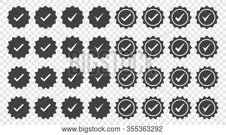 Set Of Black Check Mark Badge Icons. Profile Verification Icons