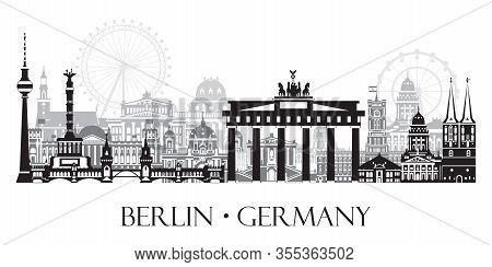 Horizontal Vector Illustration Of Berlin Cityscape Skyline, Germany. Monochrome Isolated Illustratio