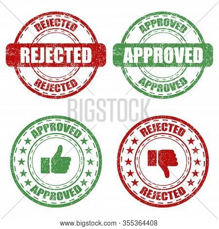 Set Of Approved And Rejected Rubber Stamp On A White Background