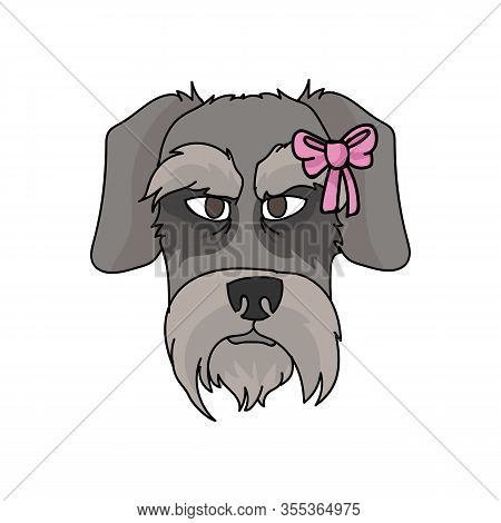 Cute Cartoon Schnauzer Dog With Pink Bow Face Vector Clipart. Pedigree Kennel Doggie Breed. Purebred