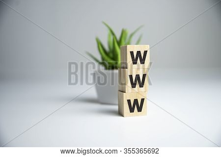 Www Word Letter On Wooden Cubic With Copy Space. Internet Website Concept