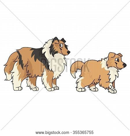 Cute Cartoon Rough Collie And Puppy Dog Vector Clipart. Pedigree Kennel Sheepdog For Dog Lovers. Pur
