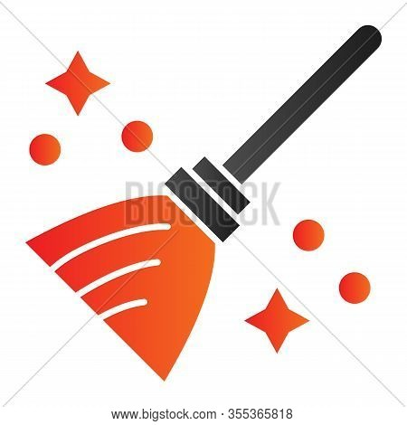 Magic Broom Flat Icon. Wizard And Witch Flying Besom For Household. Halloween Party Vector Design Co