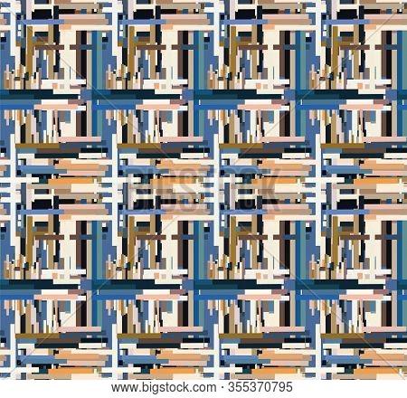 Distorted Glitch Graphic Criss Cross Stripe Seamless Pattern. Modern Distressed Line Background. Tre