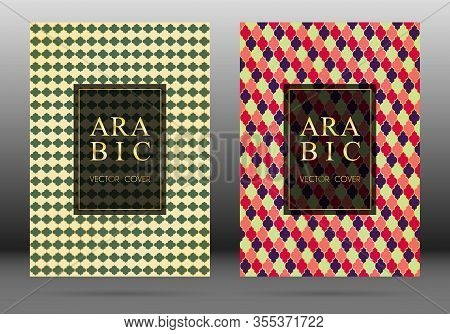 Ottoman Pattern Vector Cover Page Layout Design Set In Arabic Style Mosaic In Gold Grid. Islamic Bac