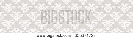 Gray French Linen Texture Border Background Printed With White Paisley Flourish. Natural Ecru Summer