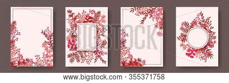 Hand Drawn Herb Twigs, Tree Branches, Leaves Floral Invitation Cards Collection. Herbal Frames Vinta
