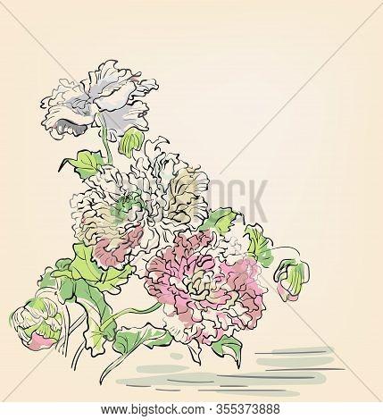 Japanese Chinese Vector Design Ink Flower Engraved Colorful Card Bakground Chrysantemum Water