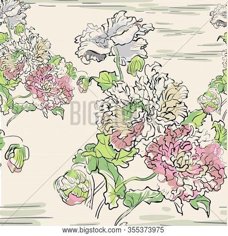 Japanese Chinese Vector Design Ink Flower Engraved Colorful Seamless Pattern Chrysantemum Water