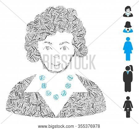 Line Mosaic Based On Brunette Lady Icon. Mosaic Vector Brunette Lady Is Designed With Random Line It