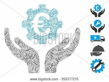 Hatch Mosaic Based On Euro Maintenance Hands Icon. Mosaic Vector Euro Maintenance Hands Is Composed