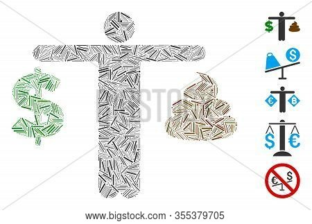 Line Mosaic Based On Person Compare Shit Dollar Icon. Mosaic Vector Person Compare Shit Dollar Is De