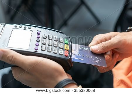Insert Credit Card Pos Terminal Machine,closeup Paying By Credit Cards In Café. Focus On Man Hands I